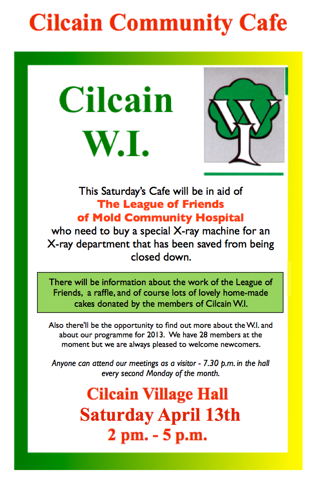 Help Mold Community Hosptial at the WI Cafe this Saturday
