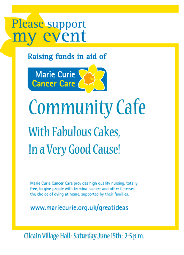This week's Community Cafe supports Marie Curie Cancer Care