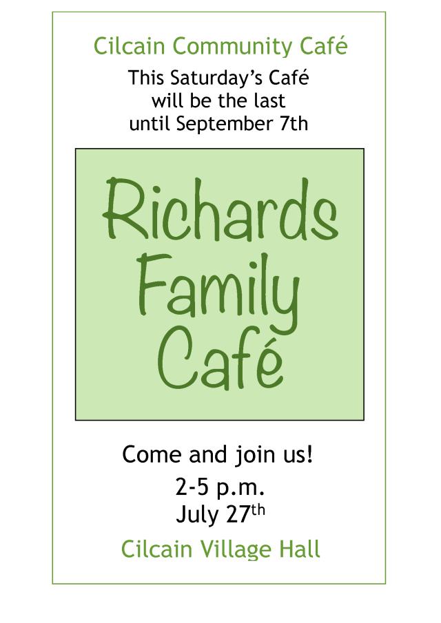 Our Last Café until September, this Saturday...