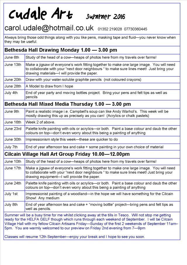 Art class info June 2016